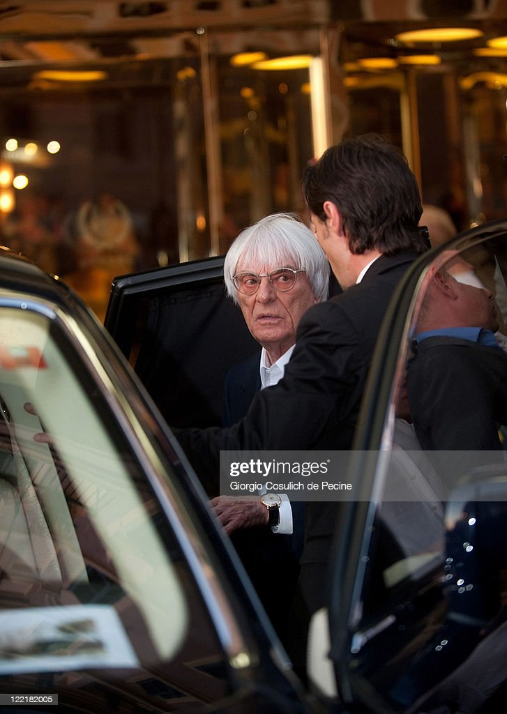 Bernie Ecclestone sighted leaving the Hassler Hotel ahead of the wedding of Petra Ecclestone and James Stunt on August 26, 2011 in Rome, Italy.