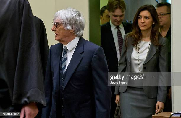 Bernie Ecclestone the 83yearold controlling business magnate in Formula One racing and his wife Fabiana arrive for the third day of his trial for...