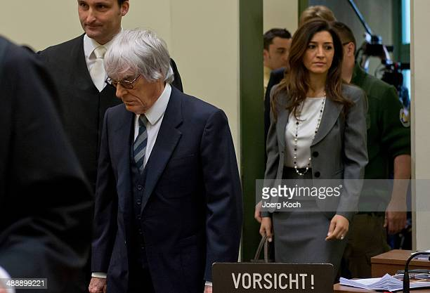 Bernie Ecclestone the 83yearold controlling business magnate in Formula One racing his lawyer Norbert Scharf and Ecclestone's wife Fabiana arrive for...