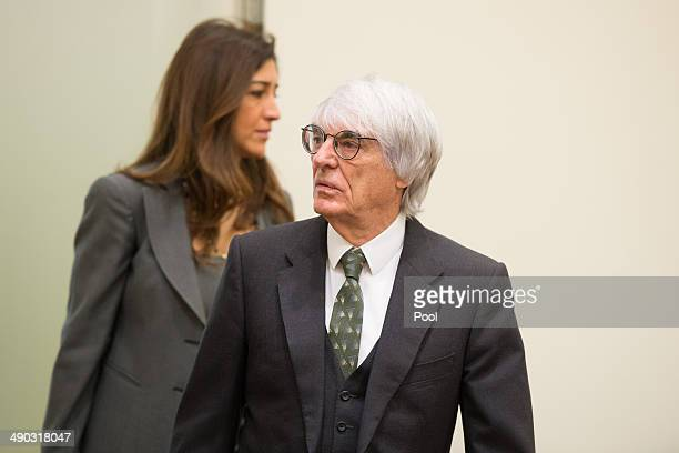 Bernie Ecclestone the 83yearold controlling business magnate of Formula One racing and his wife Fabiana Flosi attend his trial for bribery on May 14...