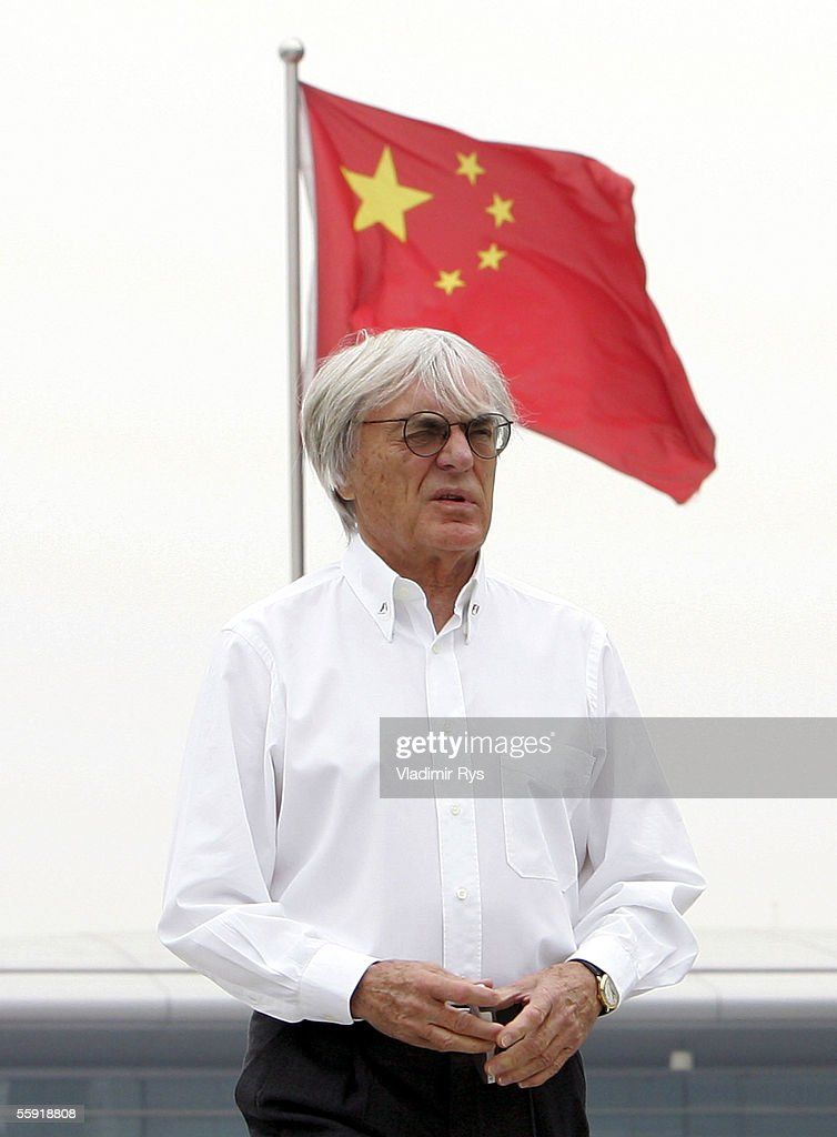 Bernie Ecclestone walks in the paddock during practice for the Chinese F1 Grand Prix on October 14, 2005 in Shanghai, China.