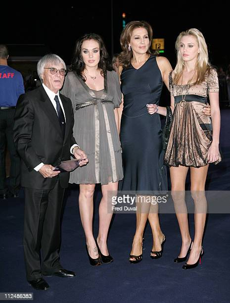 Bernie Ecclestone with wife Slavica Ecclestone and daughters Tamara Ecclestone and Petra Ecclestone