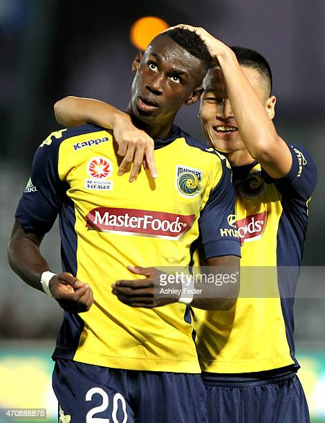 Bernie Ibini and Kim SeungYong of the Mariners celebrate a goal during the round 20 ALeague match between the Central Coast Mariners and the...