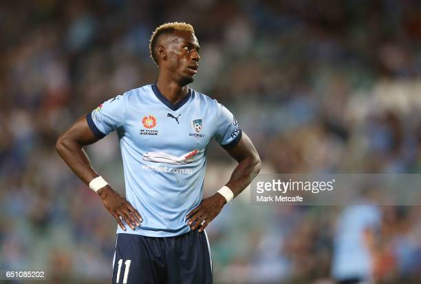 Bernie Ibini of Sydney FC reacts after hitting the crossbar during the round 23 ALeague match between Sydney FC and the Central Coast Mariners at...
