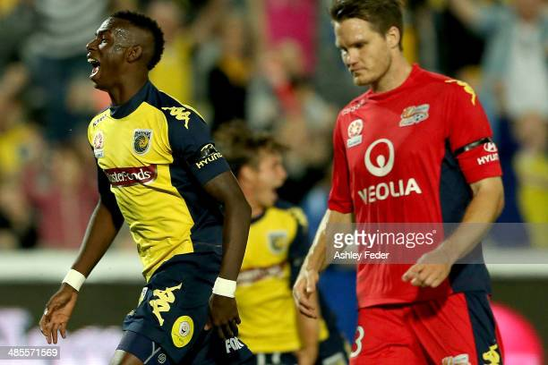 Bernie Ibini of the Mariners celebrates a goal during the ALeague Elimination Final match between the Central Coast Mariners and Adelaide United at...