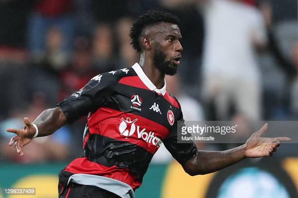 Bernie Ibini of the Wanderers celebrates scoring a goal during the A-League match between the Western Sydney Wanderers and the Newcastle Jets at...