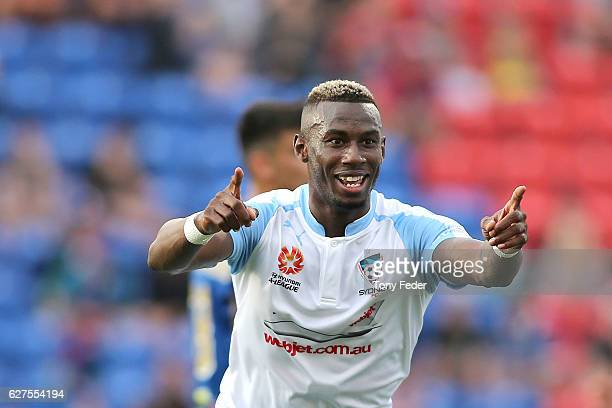 Bernie IbiniIsei of Sydney FC celebrates a goal during the round nine ALeague match between the Newcastle Jets and Sydney FC at McDonald Jones...