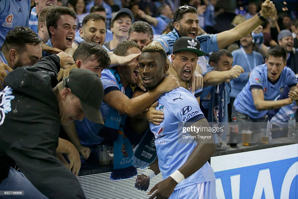 Bernie Ibini-Isei of Sydney FC celebrates a goal with fans during the round 17 A-League match between the Melbourne Victory and Sydney FC at Etihad Stadium on January 26, 2017 in Melbourne, Australia.