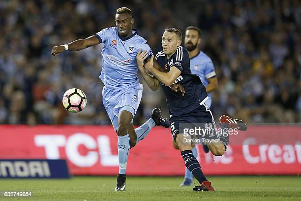Bernie IbiniIsei of Sydney FC controls the ball during the round 17 ALeague match between the Melbourne Victory and Sydney FC at Etihad Stadium on...
