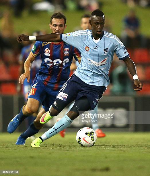 Bernie IbiniIsei of Sydney FC controls the ball during the round 20 ALeague match between the Newcastle Jets and Sydney FC at Hunter Stadium on March...