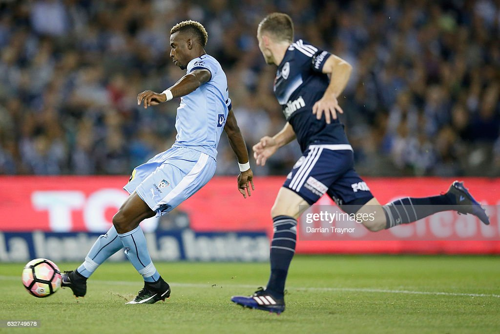 Bernie Ibini-Isei of Sydney FC scores during the round 17 A-League match between the Melbourne Victory and Sydney FC at Etihad Stadium on January 26, 2017 in Melbourne, Australia.