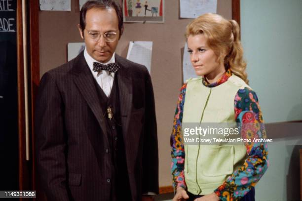 Bernie Kopell, Julie Sommars appearing in the unsold ABC tv pilot 'We Love You, Miss Merkle'.