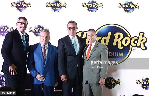 Bernie Kosar Jim Allen Tom Garfinkel and Blake James attend Hard Rock Stadium Announcement Press Conference at former Sunlife Stadium on August 17...