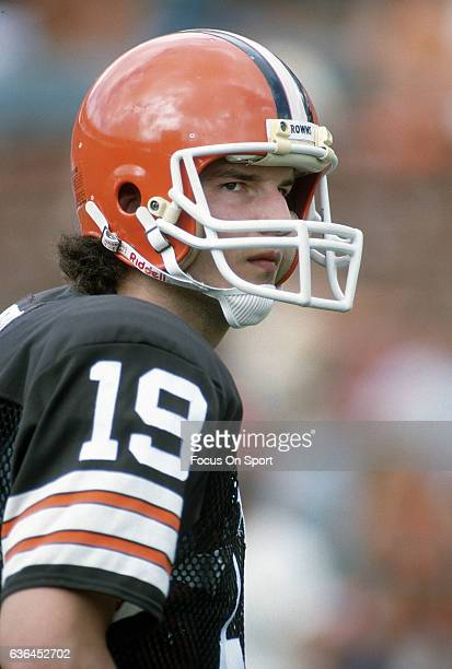 Bernie Kosar of the Cleveland Browns looks on during an NFL Football game circa 1989at Cleveland Municipal Stadium in Cleveland Ohio Kosar played for...