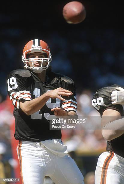 Bernie Kosar of the Cleveland Browns throws a pass against the Dallas Cowboys during an NFL football game September 1 1991 at Municipal Stadium in...