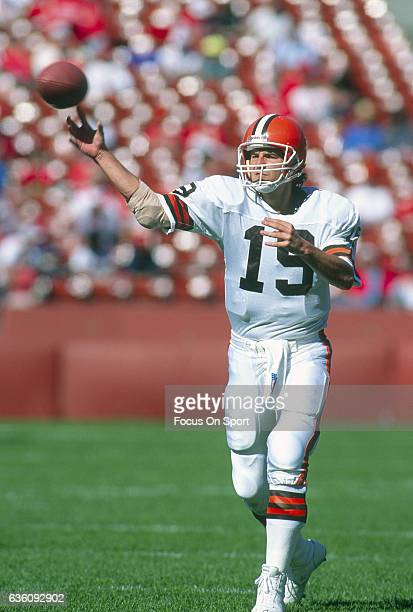 Bernie Kosar of the Cleveland Browns warms up during pregame warm ups prior to his playing the San Francisco 49ers in an NFL football game October 28...