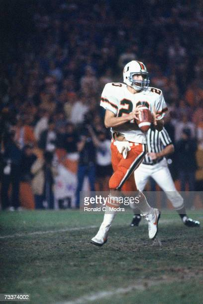 Bernie Kosar of the Miami Hurricanes passing during the 1984 Orange Bowl Game against the Nebraska Cornhuskers in the Orange Bowl on January 2 1984...