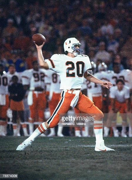 Bernie Kosar of the Miami Hurricanes passing during the 1984 Orange Bowl Game against the Nebraska Cornhuskers in the Orange Bowl on January 2 1984...