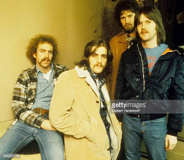 Bernie Leadon Glenn Frey Don Henley and Randy Meisner of The Eagles pose for a group portrait in London in 1973