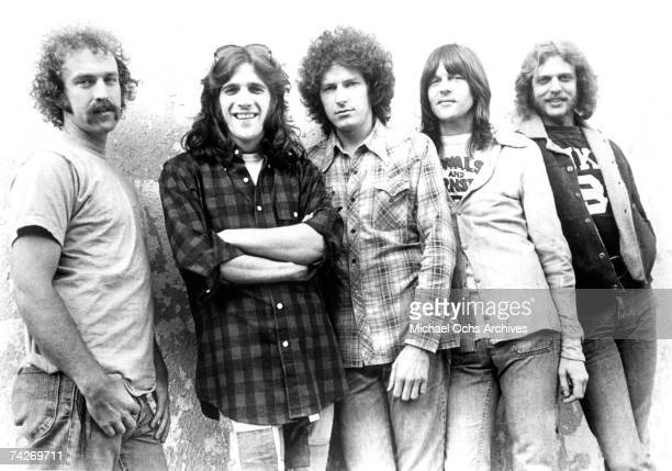 "Bernie Leadon, Glenn Frey, Don Henley, Randy Meisner and Don Felder of the rock and roll band ""Eagles"" pose for a portrait in circa 1976."