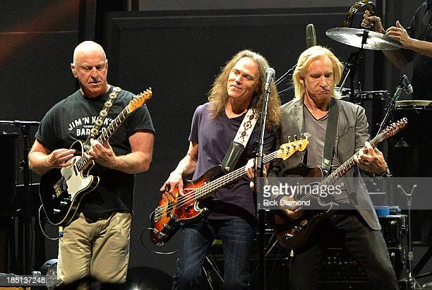 Bernie Leadon Timothy B Schmit and Glen Frey of the Eagles perform during History Of The Eagles Live In Concert at the Bridgestone Arena on October...