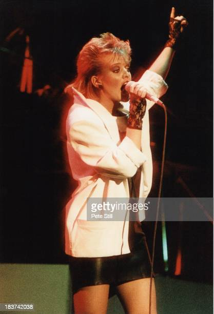 Bernie Nolan of The Nolans performs on stage at the Dominion Theatre on November 30th 1982 in London England