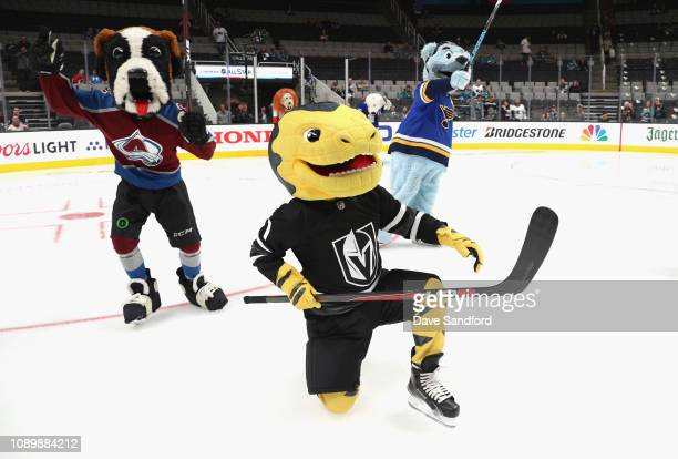 Bernie of the Colorado Avalanche Chance the Gila Monster of the Vegas Golden Knights and Louie of the St Louis Blues participate in the 2019 NHL...