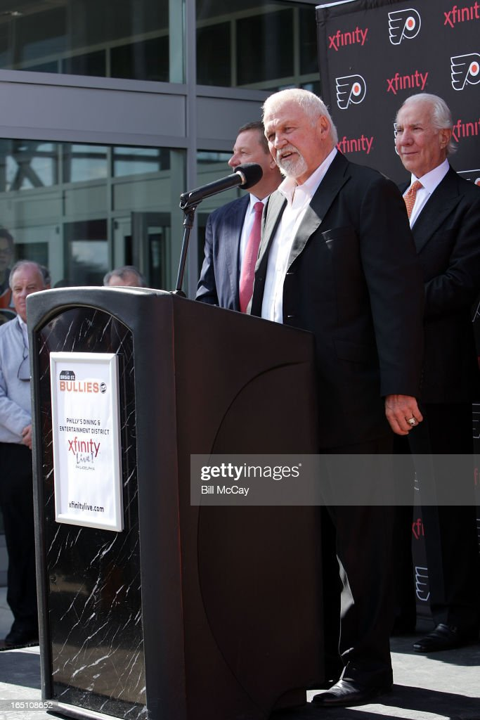 Bernie Parent attends the Comcast-Spectacor unveiling of a new seven-foot tall bronze statue of then team captain Bob Clarke and goaltender Bernie Parent hoisting the Stanley Cup commemorating one of the most iconic moments in Philadelphia Flyers history at Xfinity Live March 30, 2013 in Philadelphia, Pennsylvania.