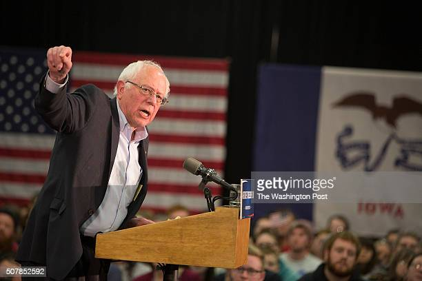 Bernie Sanders a Democratic candidate for President of the US attracts a huge crowd a rally at the Brothers Convention Center in Waterloo Iowa