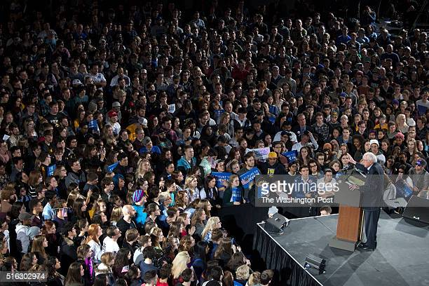 Bernie Sanders a Democratic candidate for President of the US attracts a huge crowd a rally at the University of Iowa
