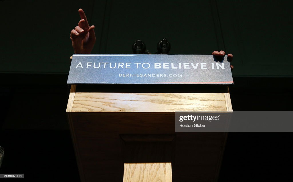 Bernie Sanders addresses the crowd during a 'Get Out the Vote' rally at Town Hall in Exeter, N.H. on Feb. 5, 2016.