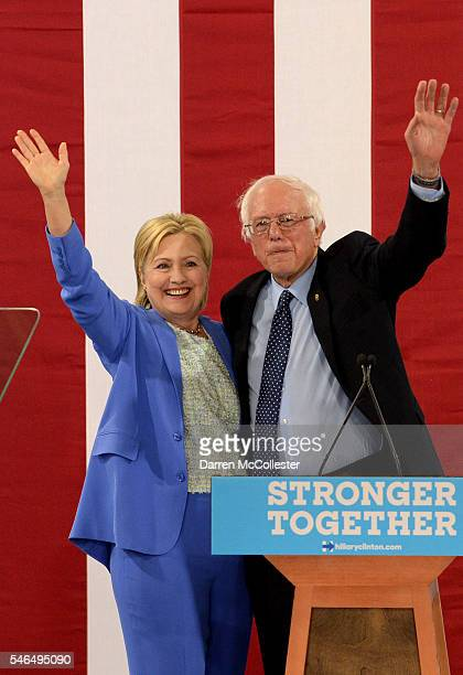 Bernie Sanders and Presumptive Democratic presidential nominee Hillary Clinton appear together at Portsmouth High School July 12 2016 in Portsmouth...