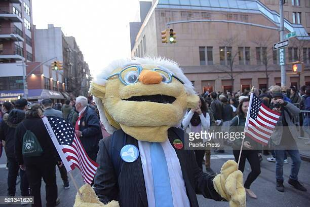 Bernie Sanders costume on University Place Thousands of Bernie Sanders supporters descended onto Washington Square Park for a rally speech by the...