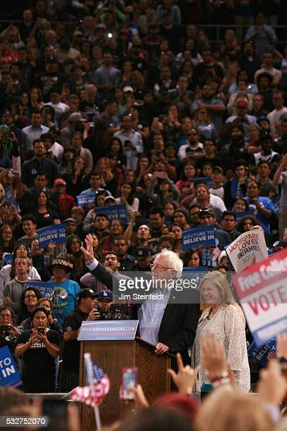 Bernie Sanders Democratic presidential candidate speaks at campaign rally at California Sate University Dominguez Hills in Carson California on May...