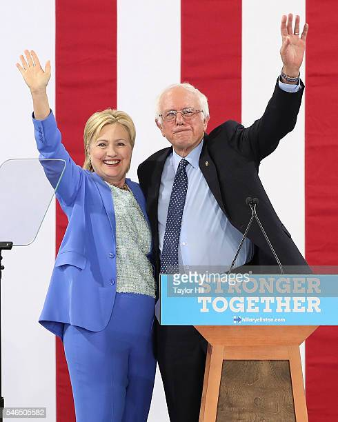 Bernie Sanders endorses Hillary Clinton for President of the United States at Portsmouth High School on July 12 2016 in Portsmouth New Hampshire
