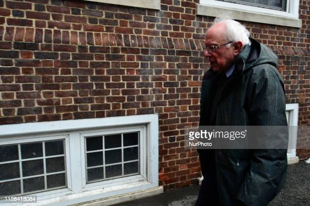 Bernie Sanders Independent US Senator from Vermont departs after speaking on stage as he kicksoff his campaign for the 2020 US Presidential Elections...