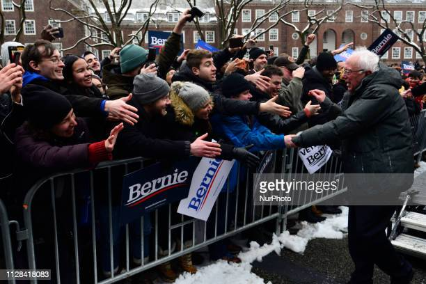Bernie Sanders Independent US Senator from Vermont great supporters after speaking on stage as he kicksoff his campaign for the 2020 US Presidential...