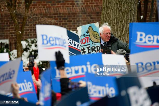 Bernie Sanders Independent US Senator from Vermont is greeted by supporters as he arrives to kicksoff his campaign for the 2020 US Presidential...