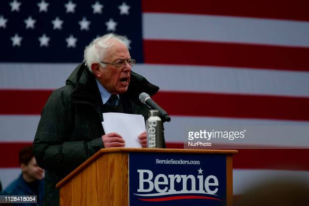 Bernie Sanders Independent US Senator from Vermont speaks on stage as he kicksoff his campaign for the 2020 US Presidential Elections on a Democratic...