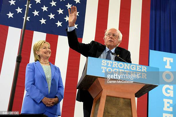 Bernie Sanders introduces Presumptive Democratic presidential nominee Hillary Clinton at Portsmouth High School July 12 2016 in Portsmouth New...