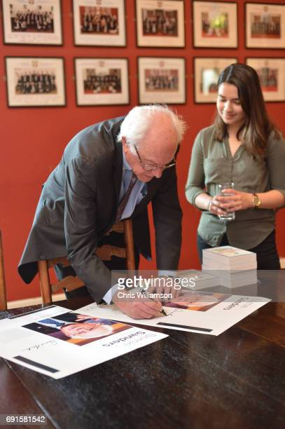 Bernie Sanders signs autographs at The Cambridge Union on June 2 2017 in Cambridge England The former US presidential candidate gave a speech at the...
