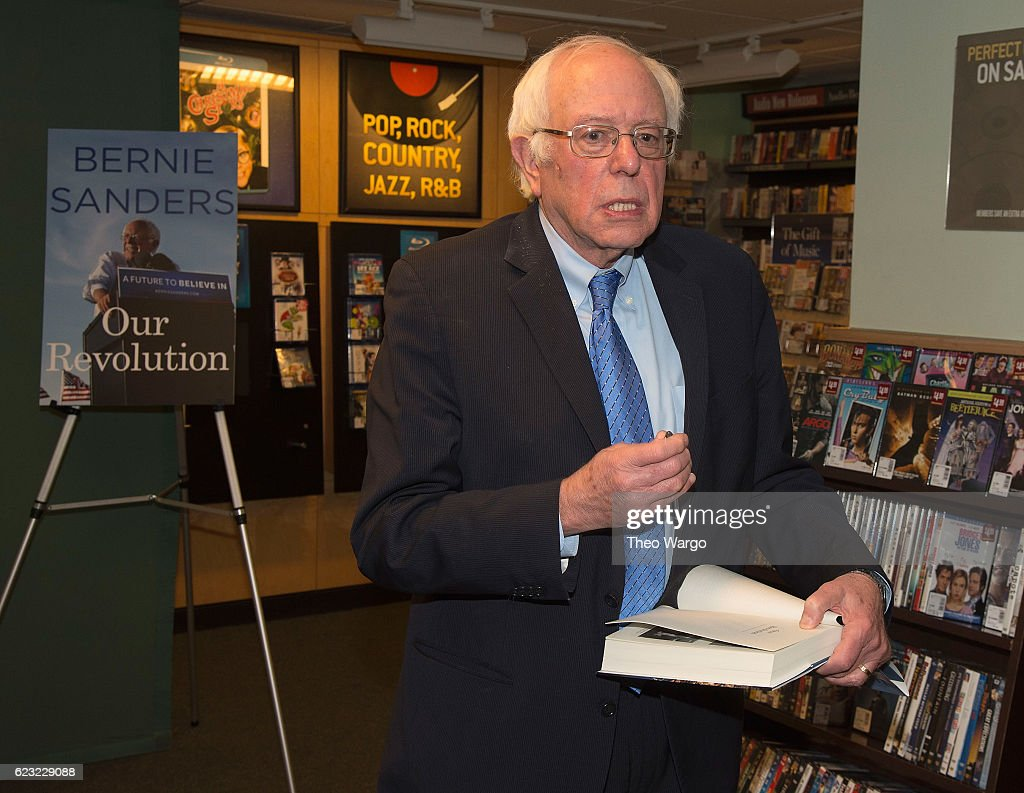 Bernie Sanders Signs Copies Of 'Our Revolution: A Future To Believe In' at Barnes & Noble, 5th Avenue on November 14, 2016 in New York City.