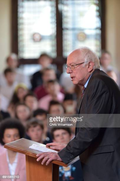 Bernie Sanders speaks at The Cambridge Union on June 2 2017 in Cambridge England The former US presidential candidate gave a speech at the Cambridge...