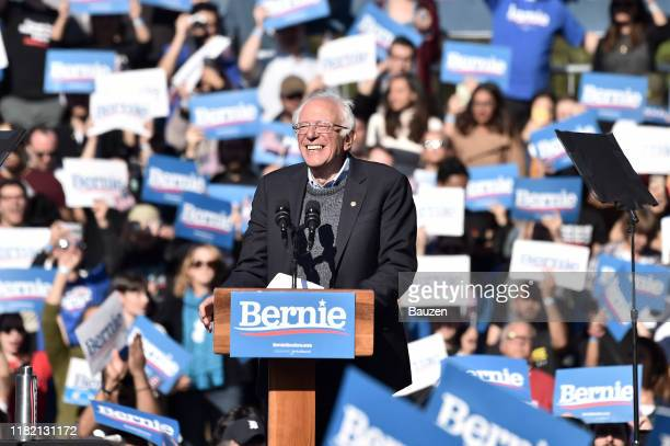Bernie Sanders speaks during a campaign rally in Queensbridge Park on October 19 2019 in Queens New York City
