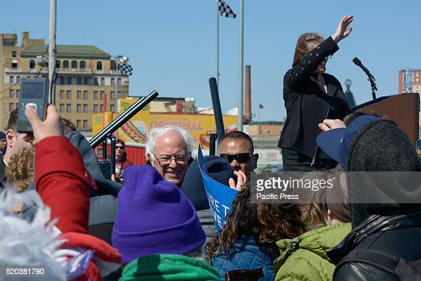 Bernie Sanders speaks during his rally in Coney Island Brooklyn