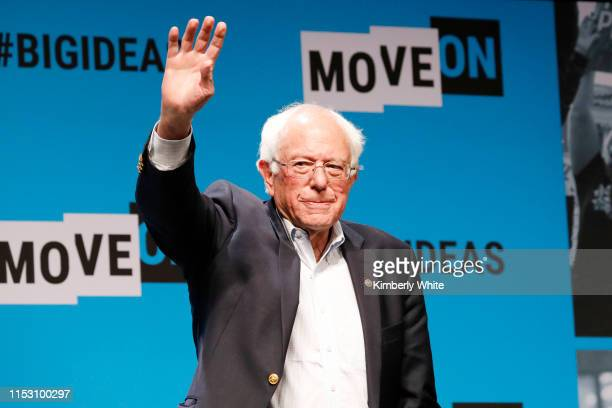 Bernie Sanders speaks onstage at the MoveOn Big Ideas Forum at The Warfield Theatre on June 01 2019 in San Francisco California