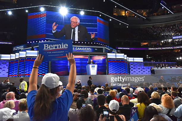 Bernie Sanders speaks to the crowds at the 2016 Democratic National ConventionDay 1 at Wells Fargo Center on July 25 2016 in Philadelphia Pennsylvania