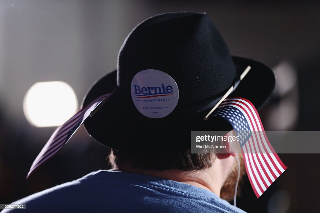A Bernie Sanders supporter waits for the Democratic presidential candidate's New Hampshire Primary Night watch party to begin February 9, 2016 in Concord, New Hampshire.