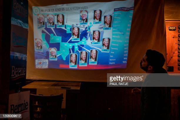A Bernie Sanders supporter watches the election results come in at the Hoppy Monk bar in El Paso Texas on March 3 Super Tuesday Fourteen states and...