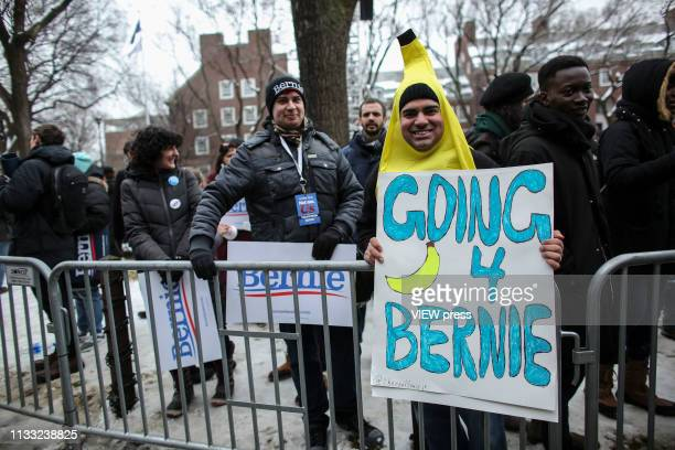 Bernie Sanders supporters attend his first presidential campaign rally at Brooklyn College on March 02 2019 in Brooklyn New York